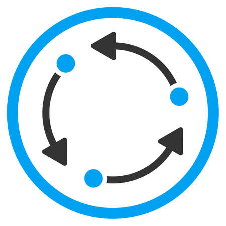 three points: Rotate vector icon. Style is bicolor flat circled symbol, blue and gray colors, rounded angles, white background. Illustration