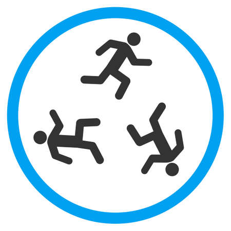 concurrent: Running Men vector icon. Style is bicolor flat circled symbol, blue and gray colors, rounded angles, white background.