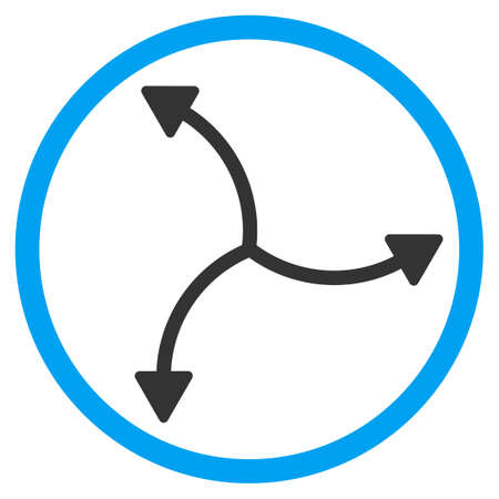 three points: Swirl Arrows vector icon. Style is bicolor flat circled symbol, blue and gray colors, rounded angles, white background. Illustration