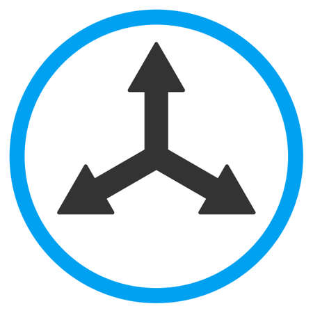 three points: Triple Arrows vector icon. Style is bicolor flat circled symbol, blue and gray colors, rounded angles, white background.