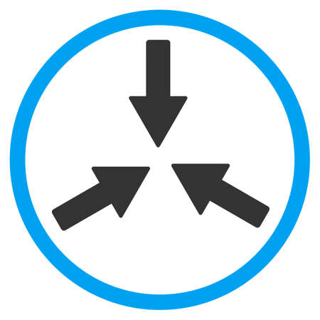 collide: Collide Arrows glyph icon. Style is bicolor flat circled symbol, blue and gray colors, rounded angles, white background.
