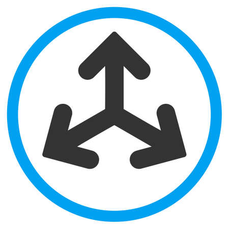 variants: Direction Variants glyph icon. Style is bicolor flat circled symbol, blue and gray colors, rounded angles, white background. Stock Photo