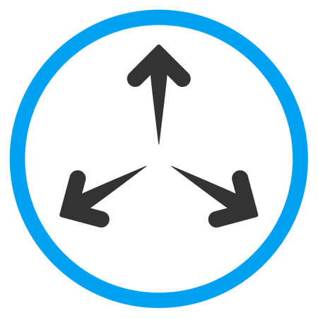 expand: Expand Arrows glyph icon. Style is bicolor flat circled symbol, blue and gray colors, rounded angles, white background.