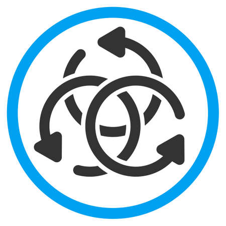 complex navigation: Knot Rotation glyph icon. Style is bicolor flat circled symbol, blue and gray colors, rounded angles, white background.