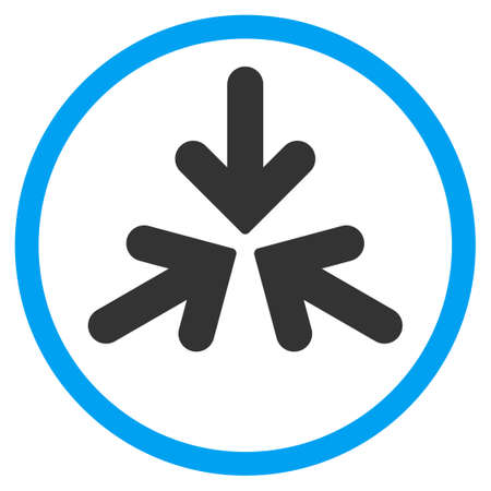 collide: Triple Collide Arrows glyph icon. Style is bicolor flat circled symbol, blue and gray colors, rounded angles, white background.