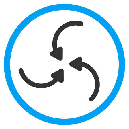 squeeze shape: Vortex Arrows glyph icon. Style is bicolor flat circled symbol, blue and gray colors, rounded angles, white background.