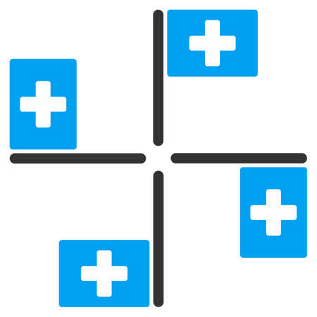 pictogram people: Hospital Flags glyph icon. Style is bicolor flat symbol, blue and gray colors, rounded angles, white background.