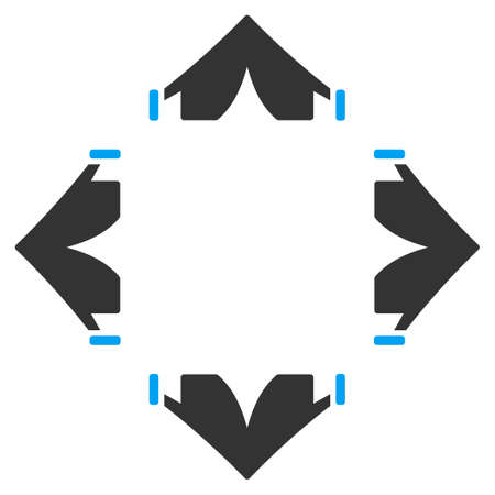 bivouac: Tent Camp glyph icon. Style is bicolor flat symbol, blue and gray colors, rounded angles, white background.