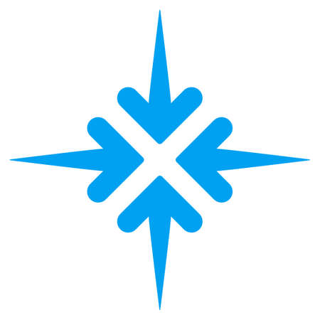 minimize: Impact Arrows glyph icon. Style is flat symbol, blue color, rounded angles, white background. Stock Photo