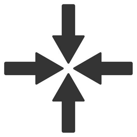 gravitation: Collide Arrows glyph icon. Style is flat symbol, gray color, rounded angles, white background. Stock Photo