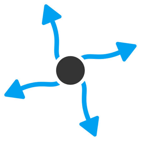 quark: Curve Arrows vector icon. Style is bicolor flat symbol, blue and gray colors, rounded angles, white background.