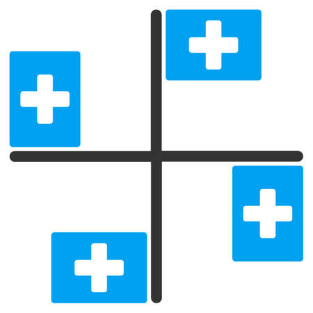 polyclinic: Hospital Flags vector icon. Style is bicolor flat symbol, blue and gray colors, rounded angles, white background.