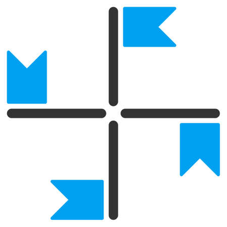 uniting: Flags vector icon. Style is bicolor flat symbol, blue and gray colors, rounded angles, white background.