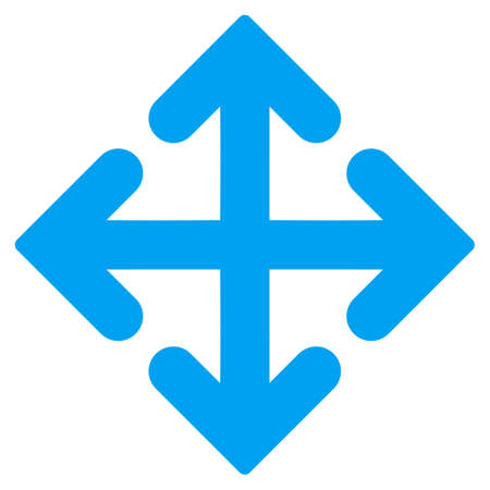 coordinates: Direction Variants vector icon. Style is flat symbol, blue color, rounded angles, white background.