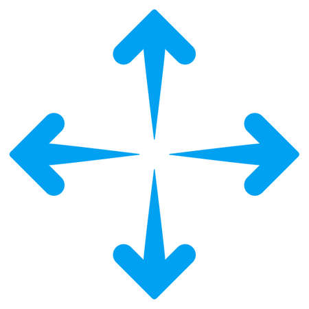 expand: Expand Arrows vector icon. Style is flat symbol, blue color, rounded angles, white background.