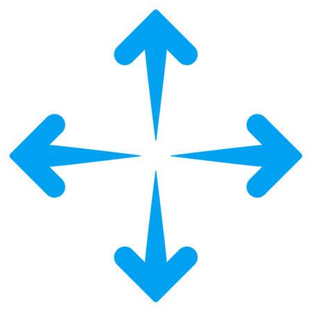 Rozwiń Arrows ikona wektor. Styl jest płaski symbol, kolor niebieski, zaokrąglonymi kątami, białe tło.