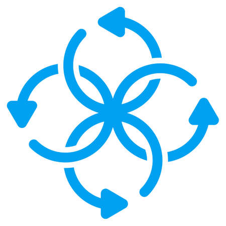 cross ties: Knot Rotation vector icon. Style is flat symbol, blue color, rounded angles, white background. Illustration
