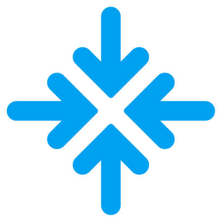 minimize: Quadro Collide Arrows vector icon. Style is flat symbol, blue color, rounded angles, white background.