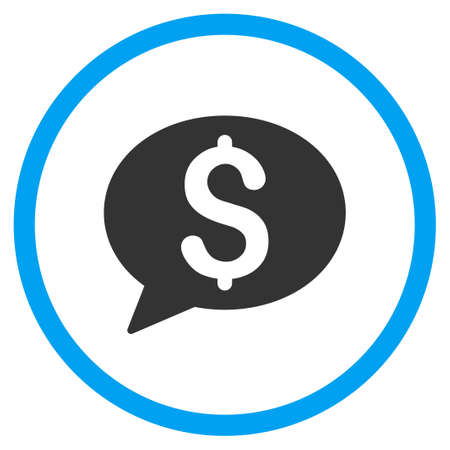 voice mail: Bank Message vector icon. Style is bicolor flat circled symbol, blue and gray colors, rounded angles, white background.