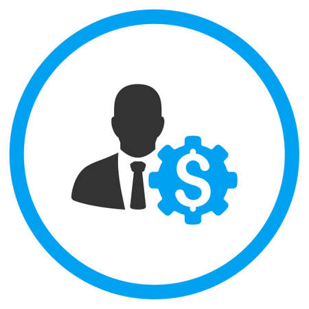 selected: Banker Options vector icon. Style is bicolor flat circled symbol, blue and gray colors, rounded angles, white background.