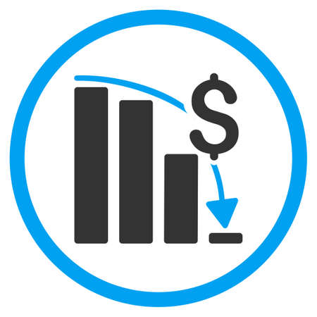 dollar icon: Financial Crisis vector icon. Style is bicolor flat circled symbol, blue and gray colors, rounded angles, white background. Illustration