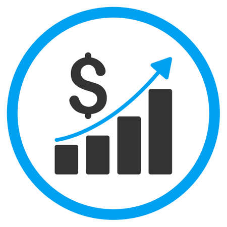 selected: Financial Report vector icon. Style is bicolor flat circled symbol, blue and gray colors, rounded angles, white background.