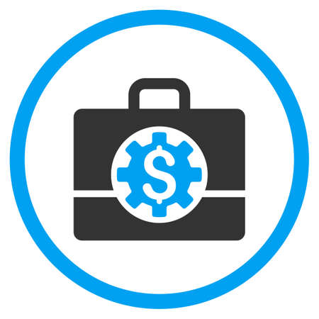 the case selected: Bank Career Options glyph icon. Style is bicolor flat circled symbol, blue and gray colors, rounded angles, white background.
