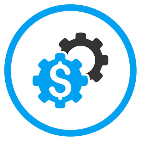 Bank Adjustment glyph icon. Style is bicolor flat circled symbol, blue and gray colors, rounded angles, white background. Stock Photo