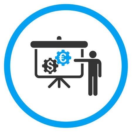 Proyecto Internacional de Banca de iconos de vectores. El estilo es símbolo de un círculo bicolor plana, colores azul y gris, ángulos redondeados, fondo blanco.