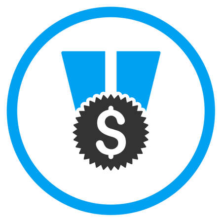 authorize: Financial Medal vector icon. Style is bicolor flat circled symbol, blue and gray colors, rounded angles, white background.
