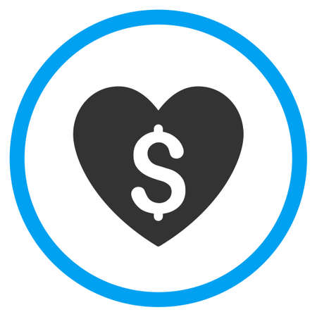 hustler: Paid Love vector icon. Style is bicolor flat circled symbol, blue and gray colors, rounded angles, white background. Illustration