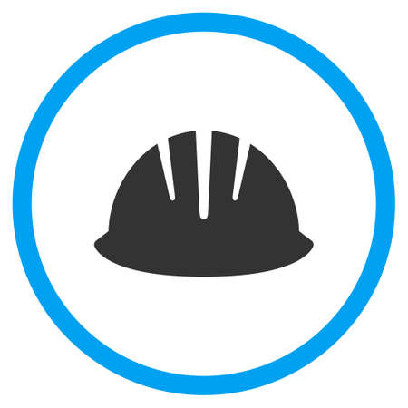 selected: Builder Helmet vector icon. Style is bicolor flat circled symbol, blue and gray colors, rounded angles, white background.
