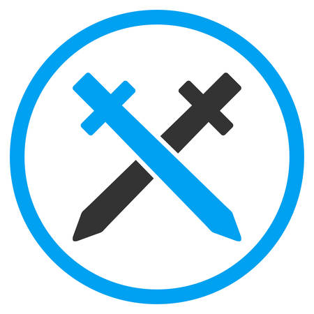 selected: Crossing Swords vector icon. Style is bicolor flat circled symbol, blue and gray colors, rounded angles, white background.