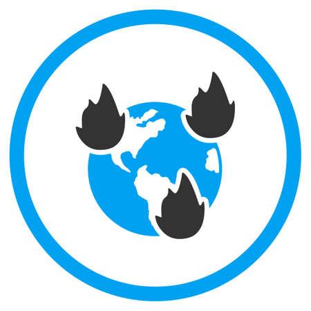 disasters: Earth Disasters vector icon. Style is bicolor flat circled symbol, blue and gray colors, rounded angles, white background. Illustration
