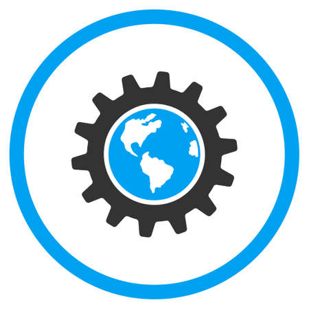 circled: Earth Engineering glyph icon. Style is bicolor flat circled symbol, blue and gray colors, rounded angles, white background. Stock Photo