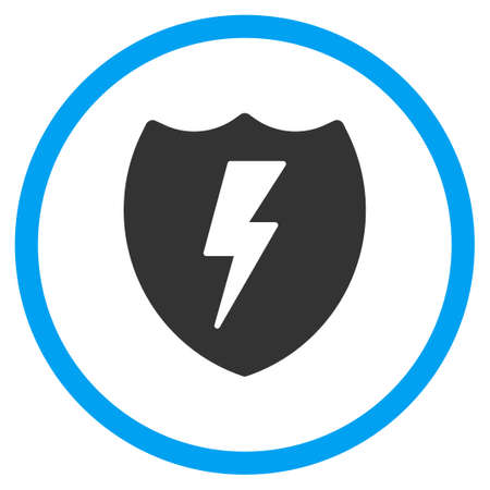 voltage gray: Electric Shield glyph icon. Style is bicolor flat circled symbol, blue and gray colors, rounded angles, white background. Stock Photo