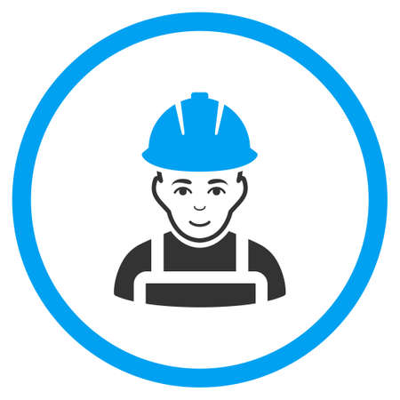 glad: Glad Worker glyph icon. Style is bicolor flat circled symbol, blue and gray colors, rounded angles, white background.