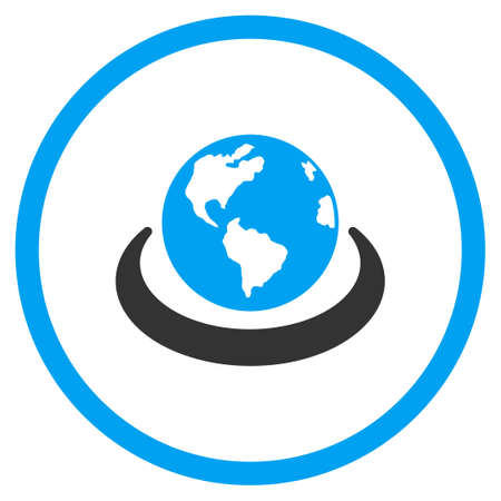 international network: International Network glyph icon. Style is bicolor flat circled symbol, blue and gray colors, rounded angles, white background. Stock Photo