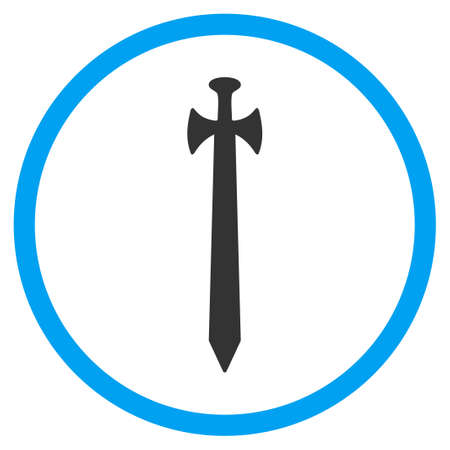 circled: Medieval Sword glyph icon. Style is bicolor flat circled symbol, blue and gray colors, rounded angles, white background. Stock Photo