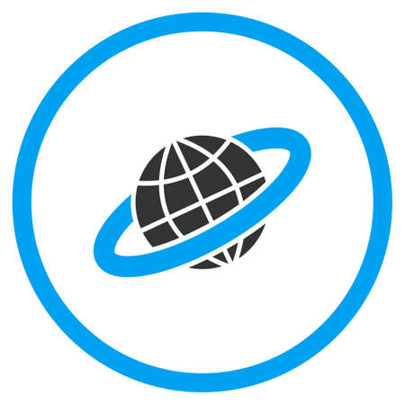 planetary: Planetary Ring glyph icon. Style is bicolor flat circled symbol, blue and gray colors, rounded angles, white background.