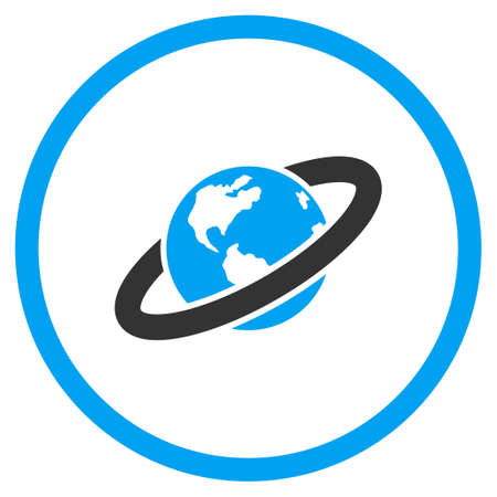 circled: Ringed Planet glyph icon. Style is bicolor flat circled symbol, blue and gray colors, rounded angles, white background.