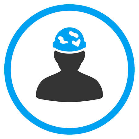circled: Soldier Under Spotted Helmet glyph icon. Style is bicolor flat circled symbol, blue and gray colors, rounded angles, white background.