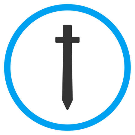 symbolic: Symbolic Sword glyph icon. Style is bicolor flat circled symbol, blue and gray colors, rounded angles, white background.