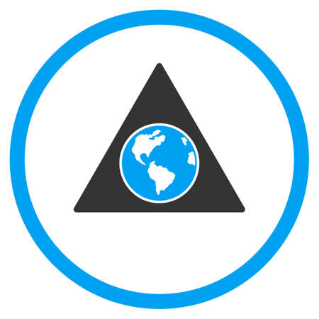 terra: Terra Triangle glyph icon. Style is bicolor flat circled symbol, blue and gray colors, rounded angles, white background.