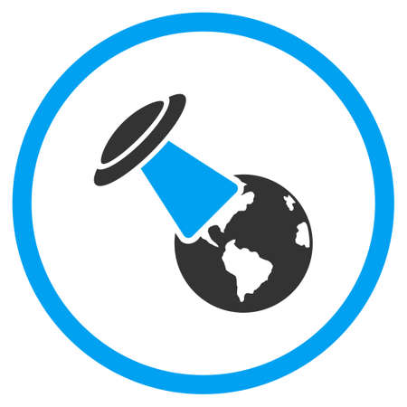 explores: Ufo Explores Earth glyph icon. Style is bicolor flat circled symbol, blue and gray colors, rounded angles, white background. Stock Photo