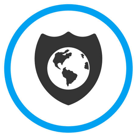 honour guard: Earth Shield vector icon. Style is bicolor flat circled symbol, blue and gray colors, rounded angles, white background.