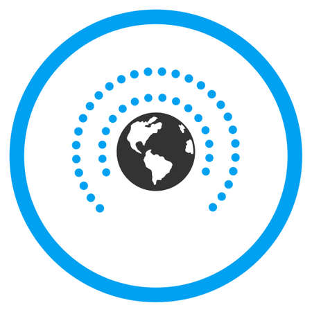 selected: Earth Sphere Shield vector icon. Style is bicolor flat circled symbol, blue and gray colors, rounded angles, white background. Illustration