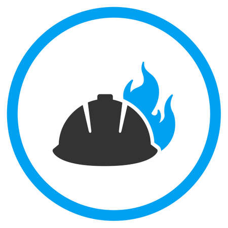 selected: Fire Helmet vector icon. Style is bicolor flat circled symbol, blue and gray colors, rounded angles, white background.