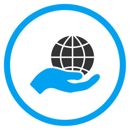 selected: Global Care vector icon. Style is bicolor flat circled symbol, blue and gray colors, rounded angles, white background.