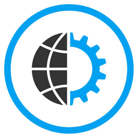 selected: Global Industry vector icon. Style is bicolor flat circled symbol, blue and gray colors, rounded angles, white background.